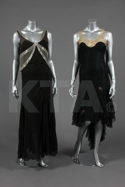 Evening dresses, 1930's (Left) Bust is 86cm/34in, about a size 8 UK/4 US. (Right) Bust is 81cm/32in, about a size 4 UK/0 US. Click to go to the absentee bidding page.  This Kerry Taylor auction will end October 16th at 10:30 AM GMT (5:30 AM EST).  You will need to register to bid ahead of time.
