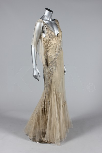 Wedding or court presentation dress, early 1930's England - Bust is 81cm/32in, about a size 4 UK/0 US. Below: (Left) Evening dress, late 1930's - Bust is 86cm/34in, about a size 8 UK/4 US. (Right) Evening dress, ca 1940 - Measurements are the same as the other evening dress. Click to go to the absentee bidding page.  This Kerry Taylor auction will end October 16th at 2:00 PM GMT (9:00 AM EST).  You will need to register to bid ahead of time.