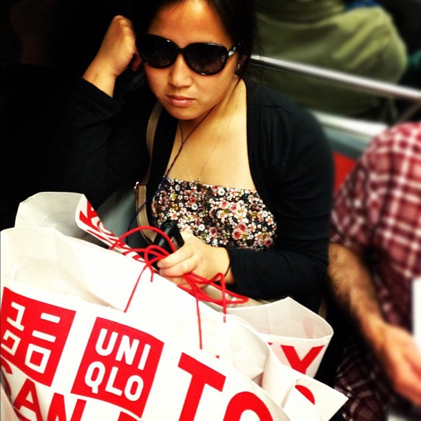Someone made it to opening day on the M. #sf #muni #sanfrancisco #uniqlo  #sunglasses #passengers #transit #candid  (Taken with Instagram)