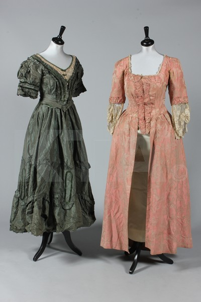 (Left) Dress, mid-late 1900's (Right) What I'm assuming is fancy dress, Victorian or Edwardian The lot contains several other damaged Victorian and Edwardian pieces, reflected in the starting price.