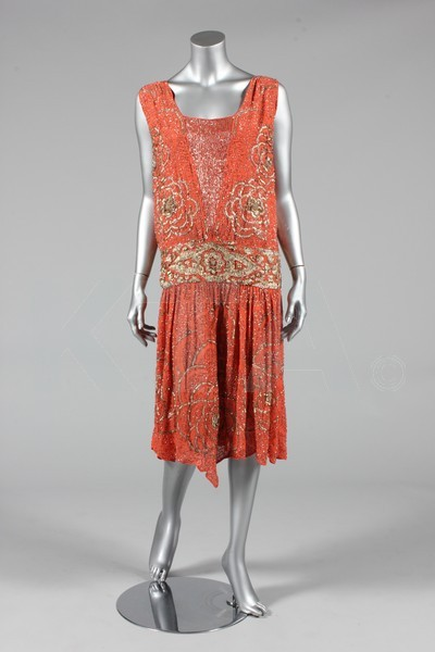 (Left) Evening dress, ca 1928 - Bust is 97cm/38in, about a size 16 UK/12 US. The lot includes a summer dress (ca 1925) and a bodice. Click to go to the absentee bidding page. This Kerry Taylor auction will end October 16th at 2:00 PM GMT (9:00 AM EST). You will need to register to bid ahead of time.
