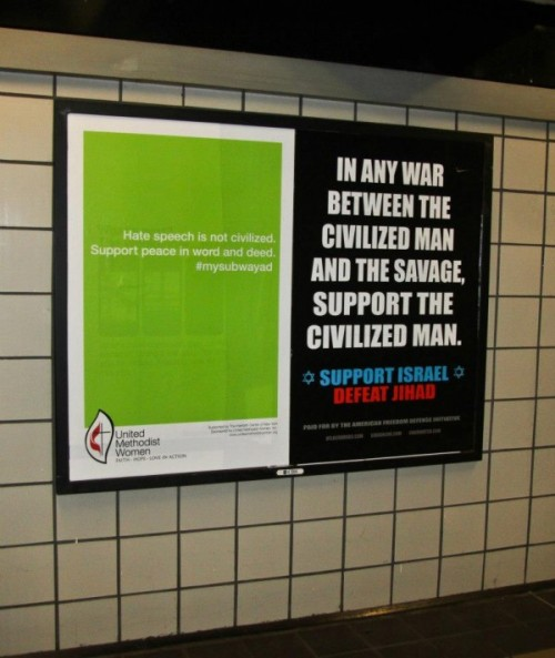 "New York City's controversial anti-Muslim subway ads get a fighting-free-speech-with-free-speech rebuttal from pro-tolerance group United Methodist Women, who raised $6,000 to match the anti-jihad group's ad buy and secure media space for  ""visual response."""