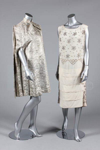 (Left) Evening cape, ca 1935 (Right) Evening dress, ca 1925 - Bust is 97cm/38in, about a size 16 UK/12 US. (Below) Evening dress, ca 1930 - Bust is 76cm/30in…I don't even know what size that would have to be.  Like a 0 UK/-2 US or something? Click to go to the absentee bidding page.  This Kerry Taylor auction will end October 16th at 2:00 PM GMT (9:00 AM EST).  You will need to register to bid ahead of time.