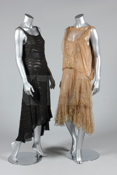(Left) Cocktail dress, ca 1929 - Bust is 86cm/34in, about a size 8 UK/4 US. (Right) Cocktail dress, ca 1925 - Bust is 92cm/36in, about a size 12 UK/8 US. Click to go to the absentee bidding page.  This Kerry Taylor auction will end October 16th at 2:00 PM GMT (9:00 AM EST).  You will need to register to bid ahead of time.