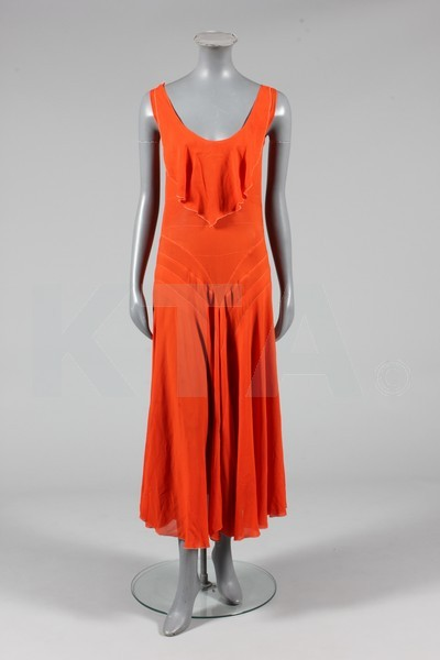 Cocktail dress, early 1930's - Bust is 32in/81cm, about a size 4 UK/0 US. (Below) Evening dress, ca 1930 - Bust is 102cm/40in, about a size 18 UK/14 US. Click to go to the absentee bidding page.  This Kerry Taylor auction will end October 16th at 2:00 PM GMT (9:00 AM EST).  You will need to register to bid ahead of time.