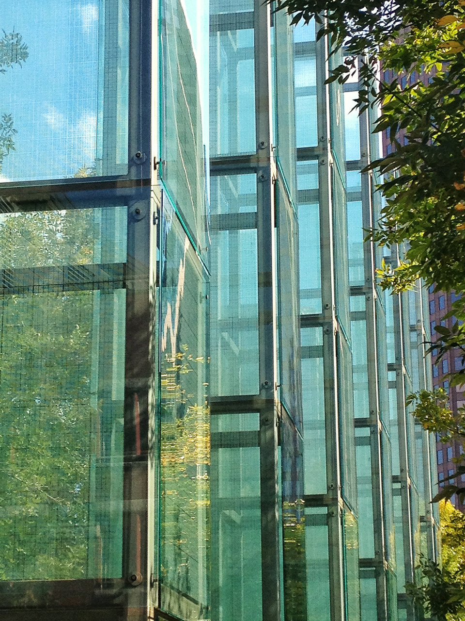 The 6 glass towers of the New England Holocaust Memorial - there are 6 million numbers etched into these.