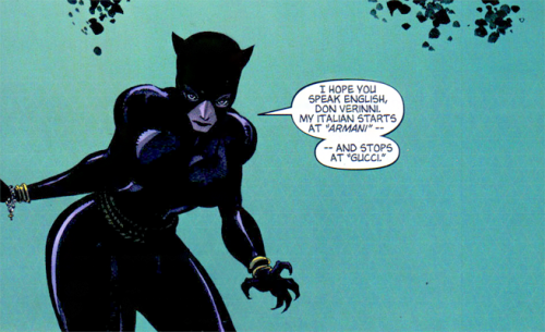 "My Italian starts at ""Armani"" and stops at ""Gucci."" Catwoman: When in Rome #1 (2004)"