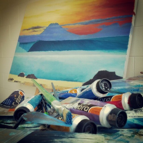 Desert Point sunset painting coming along just nicely. #eco #surf #art  (Taken with Instagram)