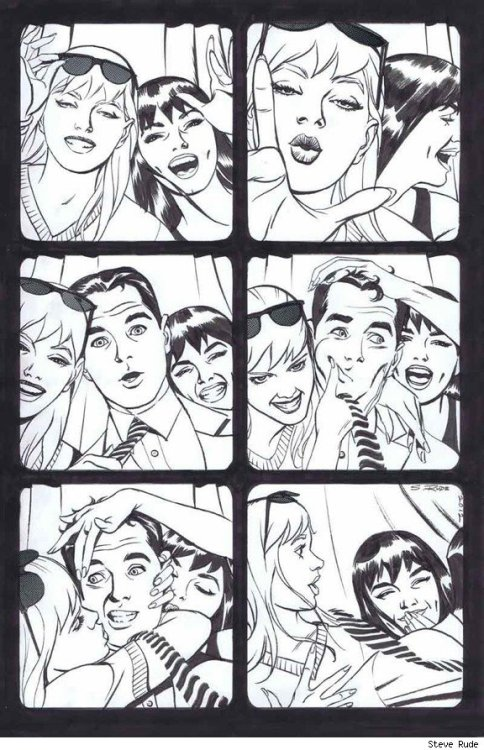 browsethestacks:  Gwen Stacy, Mary Jane Watson And Peter Parker by Steve Rude