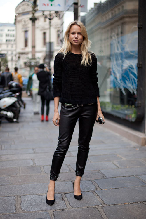 what-do-i-wear:  Cropped leather leggings work on blogger Elin Kling during Paris Fashion Week (image: harpersbazaar)