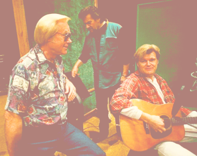 George Jones, left, is relaxing at the Bradley's Barn Studio in Mt. Juliet, during a recording session with some friends of his, including Waylon Jenning, center, and Ricky Skaggs. (2/20/1994)