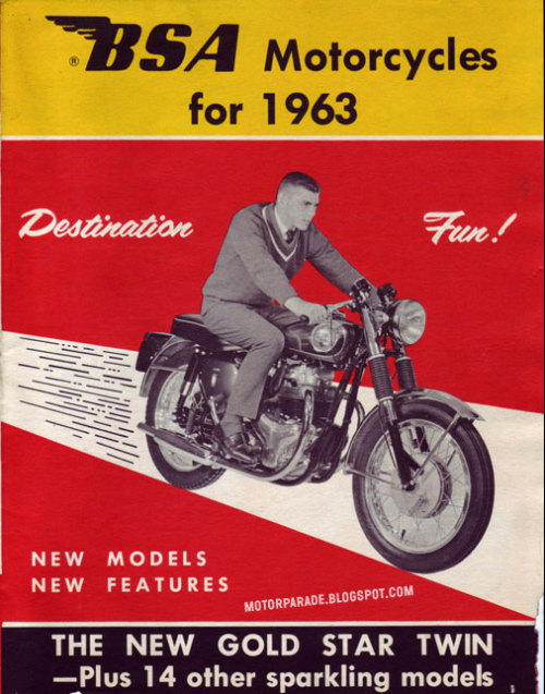 (via MotorParade: FUN DESTINATION!) BSA, USA, 1963