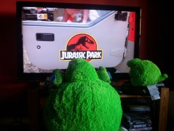Settling down as a family for the daily Jurassic Park viewing.