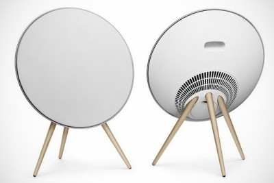 Beoplay A9 speaker by Bang & Olufsen The minimal looking speaker is designed for big areas such as living room or lounge. Inside its large circular body supported by three wooden legs, it houses 2.1 bass reflex loudspeakers accompanied by 5 dedicated amplifier units and amps alongside a fine-tuned DSP supported to generate thinner sounds that you never can listen with regular speakers. Furthermore it features an additional 80-watts class D amp for its ¾-inch tweeters and two 3-inch midrange units. Like most of B&O speakers beoplay A9 also have wireless connectivity and compatibility with Apple and Android devices.