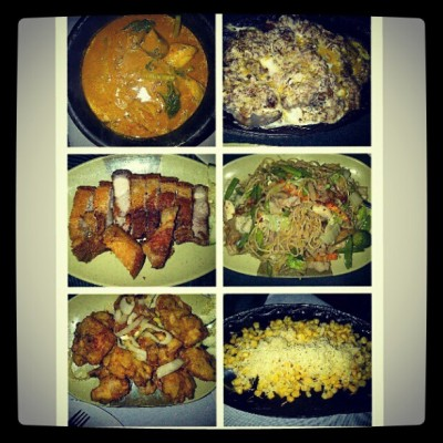 Dinner!!! Sisig, Kare-Kare, Buttered Chicken, Lechon Kawali, Pancit and Sizzling Corn! #foodporn #happytummy  (Taken with Instagram at Balsa Sa Niugan)
