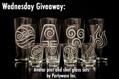 thedrunkenmoogle:  Wednesday Giveaway: 1 Set of Avatar Pint Glasses and 1 Set of Shot Glasses by Partyware Inc. Today we're giving away two awesome sets of glassware etched with the symbol of each bending tribe in Avatar. The gracious artists at Partyware Inc. gave us 8 glasses, which happen to be our most popular glassware item posted, to give away!  To Enter: This contest is for Tumblr users and residents of the US only (Sorry, world. I promise we'll have an extra prize soon where shipping won't be an issue). To enter into the drawing, reblog this post and put what type of bender you would be, if you had the choice. Winners will be determined tonight (Oct. 10) at 11:59 p.m. EST and announced Thursday morning on the site.  I would be an Air Bender.