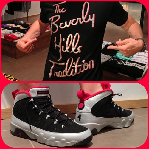 "#SkeeLocker ""Kilroy"" edition Beverly Hills Tradition Tees just dropped at the store to match today's Jordan IX! Review of the kicks up now on Skee.TV & the iPhone app, shirts available now at the Beverly Center or shoptradition.com"