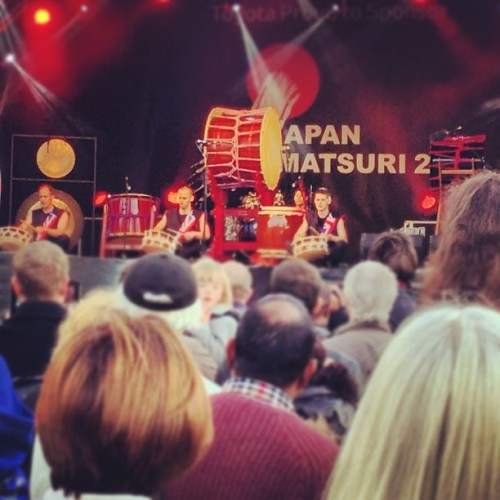 Japanese drumming Greenwich style #drums #drumming #music #culture #japan #festival #matsuri #people #trafalgersquare #london #stage #iphone #iphone5 #iphonography #photo #photos #photography  (Taken with Instagram at Trafalgar Square)