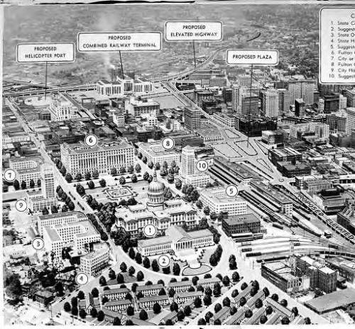 Grand scheme for a civic center complex in downtown Atlanta - 1944.  An elevated highway would have separated the whole thing from the north side of downtown, and a twin of City Hall was depicted across from the original on a large public square.