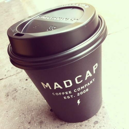 All black everything. Great #design to pair with great #coffee. cc: @madcapcoffee @iamsethherman @nopattern  (Taken with Instagram at Madcap Coffee)