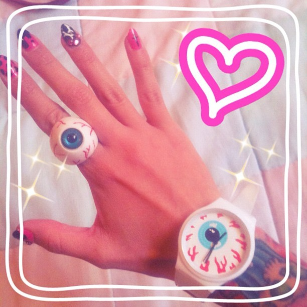 hellyeahsweetnsour:  💕Accessories of the day💕 #eyeball #ring #watch #kreepsville666 #mishka #grrrlygrrrl #aotd (Tomada con Instagram)