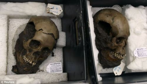 50 shattered skulls used in sacrificial rituals found at sacred Aztec temple after lying hidden for 500 years Mexican archaeologists have uncovered the largest number of skulls ever found in one offering at the most sacred temple of the Aztec empire dating back more than 500 years. The finding reveals new ways the pre-Colombian civilization used skulls in rituals at Mexico City's Templo Mayor, experts said. That's where the most important Aztec ceremonies took place between 1325 until the Spanish conquest in 1521. The 50 skulls were found at one sacrificial stone. Five were buried under the stone, and each had holes on both sides - signaling they were hung on a skull rack.  Full story and more photos here!