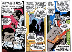 "HOW AN UNDERGROUND NEWSPAPER CHANGED MARVEL COMICS (part 2 of 4—click here for part 1) The following essay, by D.A. Latimer, appeared in the East Village Other in March, 1969. But that's T'Challa in the Avengers, and the only comic Marvel runs that's worse that the Avengers is Kid Colt. The best Marvel comic is the Amazing Spider-Man, and lately this item has gotten into some really flagrant pro-Afro-Americanism, as comics go. As we all know, Spider-Man's civilian alter ego is Peter Parker, CCNY student and photographer for the Daily Bugle. His nemesis is of course J. Jonah Jameson, publisher of the Bugle, a dirty old fart of Hearstian bombast who hates Spider-Man's guts—but who employs as city editor, a spade called Joe Robertson! Holy Mundolo, Batman! And not only is Robertson black, but he actually has real human conflicts, as Marvel comics go. Like, Joe's kid Randy goes to the same college as Peter Parker, and was some time ago instrumental in organizing a radical student demonstration there. It seems the school wanted to turn an old museum into an alumni banquet hall or some such frippery, and a coalition of what looked like New Leftists and Third World Students wanted it renovated as a low-cost dormitory for impoverished students. So they sat in—oh, there was rightness in their cause—and in the confusion a valuable stone tablet inscribed with curious cuneiforms was pilfered from one of the display cases by a super-baddie who took advantage of the sit-in as a cover-up for his eviltry. But that's the plot, and we're concerned with the sub-plot. Cut to the police station, where the militants have been taken, under suspicion of complicity with this theft. Robertson is agonized by the position Randy puts him in. ""A protest is one thing,"" he moans, ""but the damage you caused! But don't worry, your mother and I will stand behind you! I just have to figure out…How to break it to her!"" For this he gets called an Uncle Tom by his kid, and he is being extravagantly middle-class…but Tomism? Ooo, that cuts. Because beneath that mild-mannered exterior, Robertson is really damned militant—for Marvel comics. What he is, see, is understanding: a few nights later, he tells his wife, of Randy—""He's troubled…Rebellious…full of the angry impatience of youth! He wants to take it into his hands…and shape it into something better! That's what's important, Martha! That's what really counts!"" And who could gainsay him? Applause, Marvel, if not a standing ovation. Joe just gets more radical as time goes on, too. In the current issue…The inker fucked up this issue and made the Robertsons look grey; usually Marvel gets a much better tone of brown—but you can't complain, at least they got swell Afro haircuts this time…In the current issue, we see Robertson standing up to Jameson in front of his kid, laying his job on the line by insisting on printing good things about Spider-Man; and in an argument with his kid, he actually goes on record as saying this: ""You wanna be a militant…Fine! Maybe we need more of that stripe!"" Standing ovation this time, Marvel, but no jumping up and down yet. There have been other Negroes in Marvel comics, they range in significance from an occasional cop or doctor to the character who saved the Silver Surfer from an untimely death a few months ago. There have been no colored super-baddies, though, because…After all…But then, there was this matter of the High Evolutionary in '67—but that might have been just a poor print job—he was sort of mauve… But what Marvel needs now is somebody who can write spade dialogue. Everybody in Marvel sounds either like a refugee from a Shakespeare stock company or a Bronx bricklayer—Marvel can't even get ""sock it to me"" to read right. Next: Marvel's response."