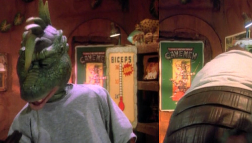 "Did you know that there's a TMNT reference in the '90s sitcom Dinosaurs? If you look carefully at the walls in Robbie Sinclair's room, you'll see a ""Teenage Mutant Ninja Cavemen"" poster on the wall. Now, I'm not going to say that dinosaurs wouldn't have found turtles to be interesting (turtles are always interesting!) but cavemen were obviously the stuff of fiction, making them suitable fodder for Triassic comic books. From 12 Super-Nerdy Easter Eggs in Television and Movies. Originally via hezaakun."