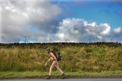 "Undeterred by jail time, 'The Naked Rambler' is back on the trail (Photo: Jeff J Mitchell / Getty Images) Stephen Gough, known as ""The Naked Rambler,"" has spent more than six years in Scottish prisons for refusing to put his clothes on. He was released from prison Friday after serving his latest sentence for public nudity. He has twice traversed the island of Great Britain wearing only boots, socks, a backpack and sometimes a hat. See more images (safe for work, we promise) here."