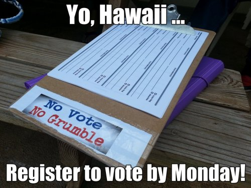Share this image to encourage your friends to register to vote for the first time! Download the application here. Monday is the deadline.