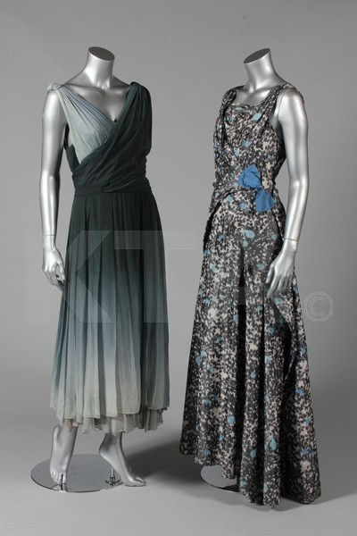 (Left) Cocktail dress by Victor Steibel, late 1950's London - Bust is 86cm/34in, about a size 8 UK/4 US. (Right) Evening dress by Miss Ford, ca 1957 London - Bust is 86cm/34in, waist is 61cm/24in, about a size 8 UK/4 US. Miss Ford was a little known designer who designed clothing for Queen Elizabeth II and Princess Margaret throughout their early lives. Click to go to the absentee bidding page.  This Kerry Taylor auction will end October 16th at 2:00 PM GMT (9:00 AM EST).  You will need to register to bid ahead of time.