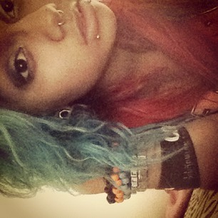 Took this the other day after getting caught in the rain. Blue & Pink hair~