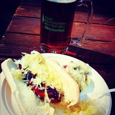 Oktoberfest in Tahoe…! #LakeTahoe #Oktoberfest #CampRichardson #Bratwurst #BlueMoon #Stein #Vacation  (Taken with Instagram at Camp Richardson)