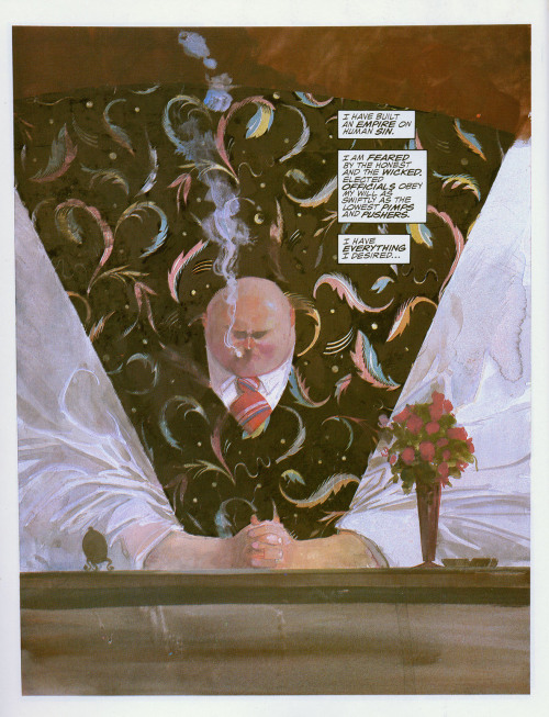 The Kingpin, from DAREDEVIL: LOVE & WAR. Art by Bill Sienkiewicz. Words by Frank Miller.