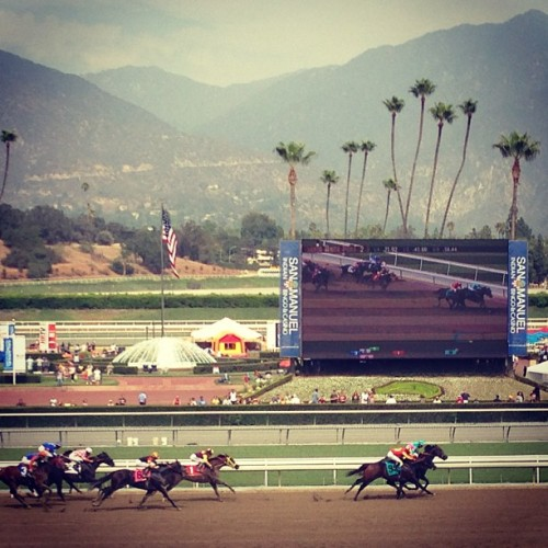 My first horse race! (Taken with Instagram at Santa Anita Clubhouse)