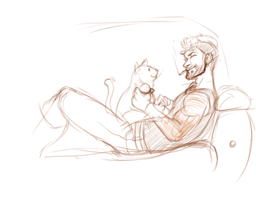 Viper playing with his cat I need to practice drawing cats but i keep drawing dogs oops