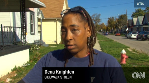 this woman had her sidewalk stolen a slab of concrete was stolen 2 men stole her goddamn sidewalk THIS BLOG. THIS!