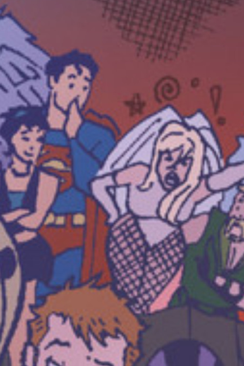 "I love this picture from Green Arrow/Black Canary Wedding Special, of Dinah. She's all kick ass and swearing the party crashers away, and Superman is so shocked, but Lois is like ""that's my girl"""