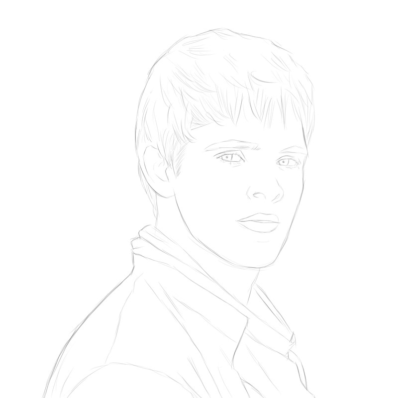 After watching Merlin tonight I felt like drawing Colin Morgan. Still a sketch, obviously.