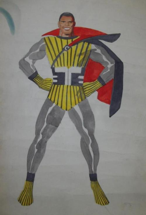 Jack Kirby's original design drawing (painting) of the Black Panther, who was initially to have been called the Coal Tiger.