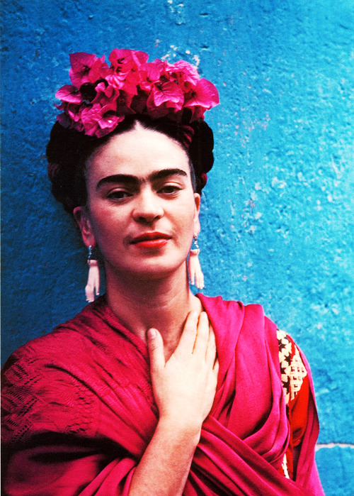sharontates:  Frida Kahlo wearing earrings that were given to her by Picasso, C.1930's