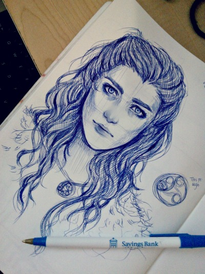 lexi-dee:  And now in honor of Merlin- Season 5 Ep 1 here's a sketch of Morgana I did while waiting for the show! Will get around to drawing Gwen too sometime soon, cause she was fierce af. ALSO I'M SORRY FOR THE LONG TIME NO ART. Feel free to virtually stab me for cause I totes deserve that for not drawing as much D: