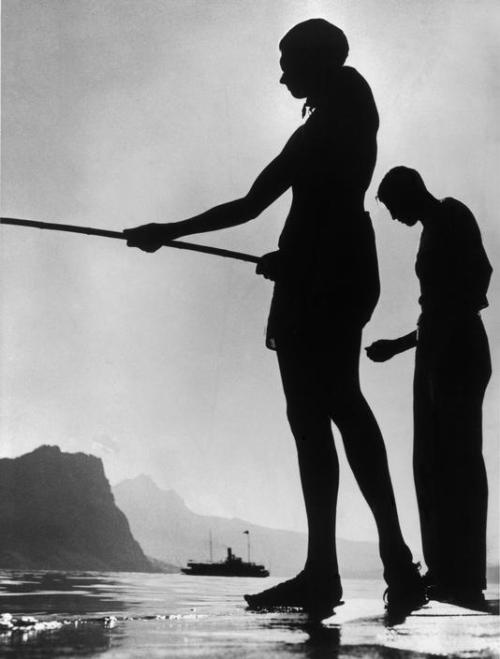 Herbert List Friends Fishing, Lake Lucerne, 1937