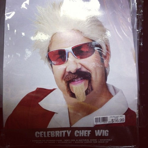 steady-now:  Celebrity chef wig.  DO NOT call it Guy Fieri, it is not him.  (Taken with Instagram)
