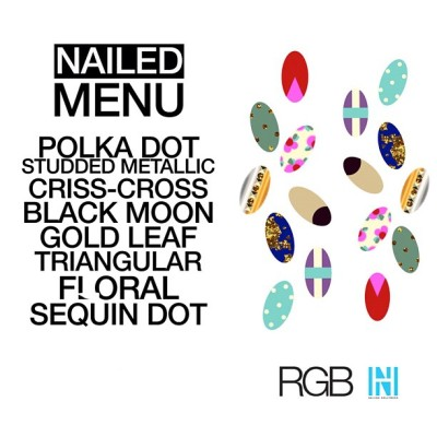 The design menu for the #Nailed event tonight w/ custom looks by @mpnails & @stephstonenails
