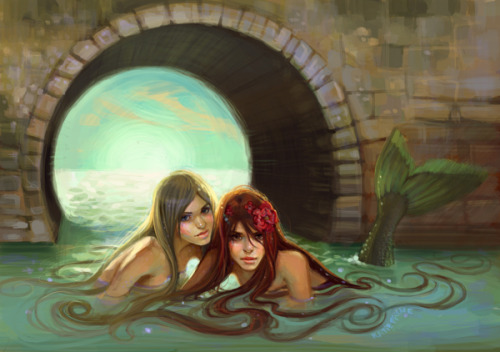 """ Mermaids ""  …   Digital art by Artist: Katie Payne, NYC  kaustubha:  (via mermaids on the Behance Network)"