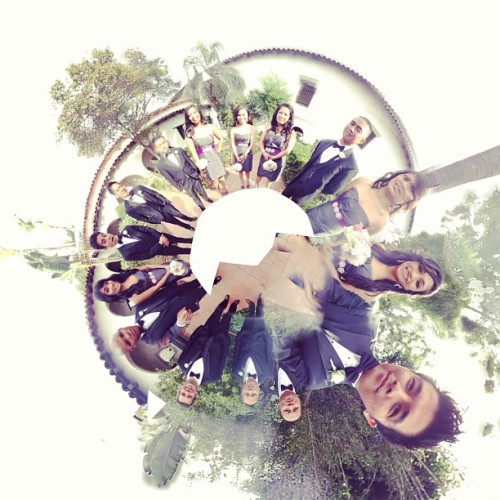 Wedding Party spherical panorama! #wedding #weddingparty #bridesmaids #groomsmen #360panorama #cheerstoforever  (Taken with Instagram)