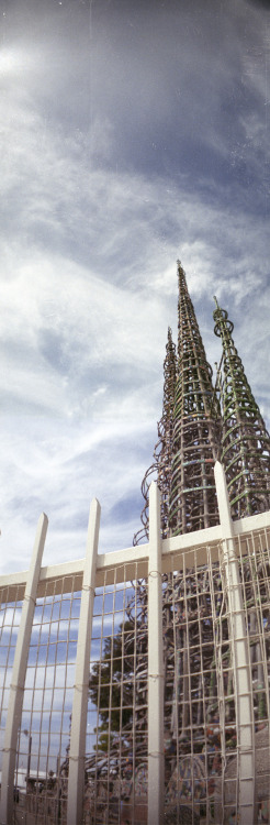 Watts Tower with The Sprocket Rocket.