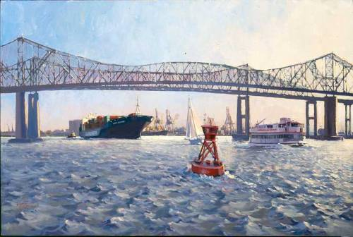 Ever Glamour Entering The Cooper RiverArt by West Fraser (Featuring the old Cooper River Bridge, the John P. Grace Memorial Bridge.)