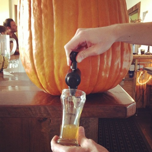 indeepwaters:  Inception level craft beer drinking…pumpkin beer from of a pumpkin!! (Taken with Instagram)  This is amazing! Pumpkin beer from a pumpkin. Pure bliss.